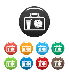 Lunch bag icons set color vector