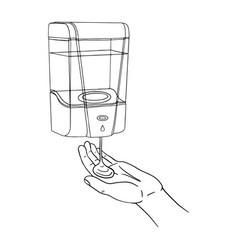 Male hand use modern automatic soap gel dispenser vector