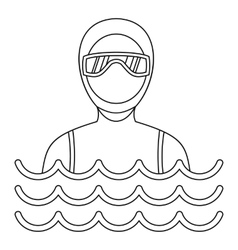 Man in a diving suit icon simple style vector