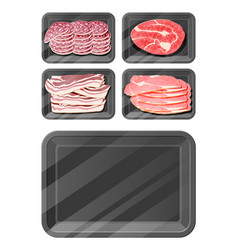 meat sausage steak pack set vector image