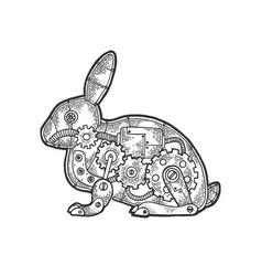 Mechanical hare rabbit animal sketch engraving vector