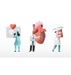 Medical cardiology workers care heart health set vector
