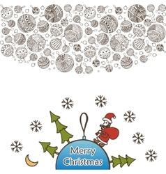 Merry christmas balls doodle pattern Santa Claus vector image