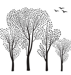 Nature background trees and birds silhouette card vector
