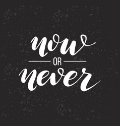 now or never lettering vector image vector image
