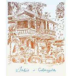 Original drawing of india goa calangute baga vector
