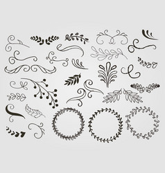 ornamental frame and ribbons set vector image