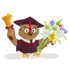 Owl teacher holding bouquet of flowers School vector