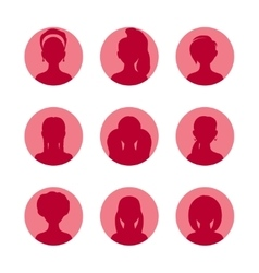 People silhouette avatars collection Girls vector image vector image