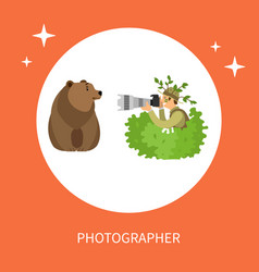 photographer hiding in bushes taking photo of bear vector image