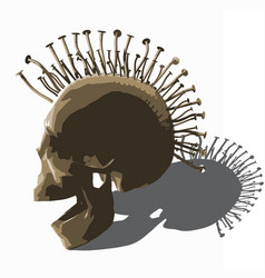 Punk skull - on white vector