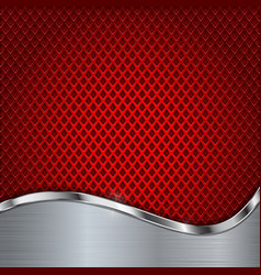 Red metal perforated background with chrome vector