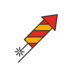 rocket firework color icon vector image