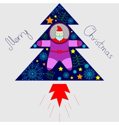 Santa astronaut is flying in a rocket vector
