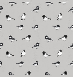 Seamless pattern with little birds hand drawn with vector