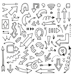 Set hand-drawn arrows for mind maps schemes vector