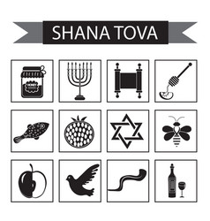 set icons on the jewish new year black silhouette vector image
