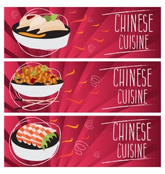 Set of banners for theme chinese cuisine with vector