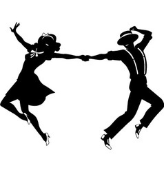 Silhouette a couple dancing vector