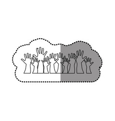 Silhouette hands up together icon vector