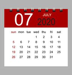 simple desk calendar for july 2020 vector image