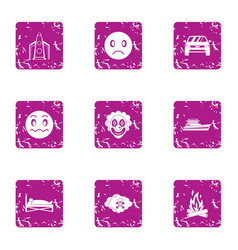 Stressful icons set grunge style vector