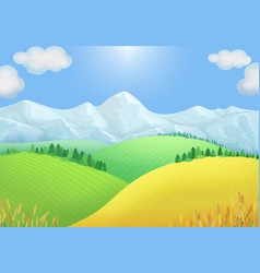 summer landscape view green meadows mountains vector image