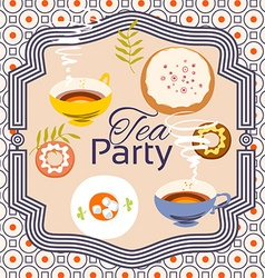 Tea party invitation card Frame over pattern vector