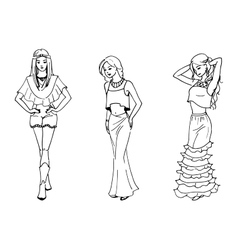 three beautiful fashion vector image
