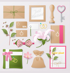 wedding salon corporate identity template set vector image