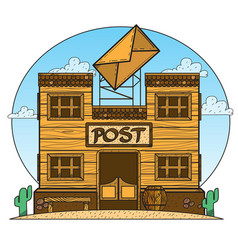 wild west post office game background vector image
