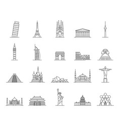 World landmarks signs black thin line icon set vector