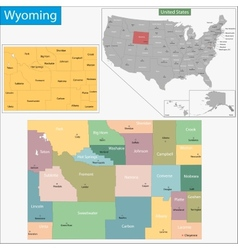 Wyoming map vector image