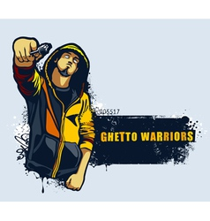Young gangster with gun vector