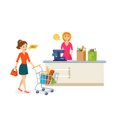 young woman walking around the store and takes vector image
