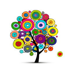abstract circles tree sketch for your design vector image