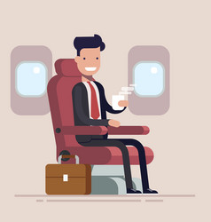 businessman or manager flies in an airplane vector image