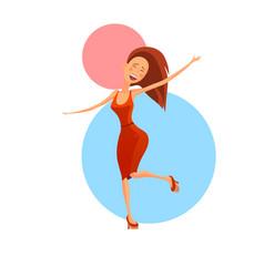 cheerful dancing woman vector image vector image