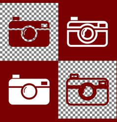 digital photo camera sign bordo and white vector image