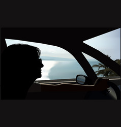 driving by the sea vector image