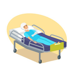 man with bandaged head and injured hand vector image