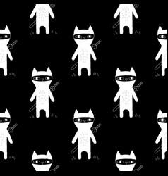 ninja cat seamless pattern vector image