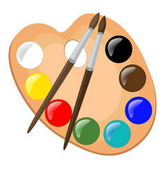 Paint palette with brushes vector