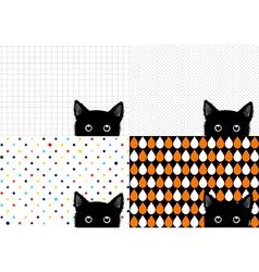 Set Black Cat Background vector image vector image