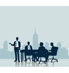 Silhouette Business meeting with city background vector image vector image
