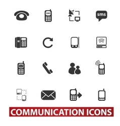 20 communication signs icons set vector image vector image