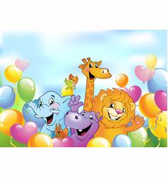 cartoon animals cheerful background vector image vector image