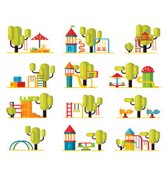 colorful playground elements collection vector image