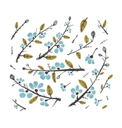 Flowers and Leaves Branches for Decoration Set vector image vector image