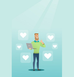 man with laptop and heart icons vector image vector image